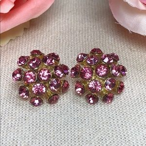 Jewelry - Gorgeous pink and gold crystal cluster earrings
